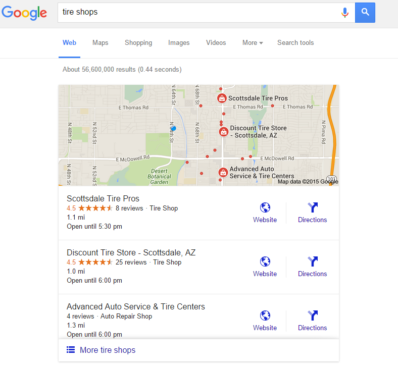 Google 3 pack map results